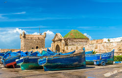 Blue fishing boats in the port of Essaouira, Morocco Royalty Free Stock Image
