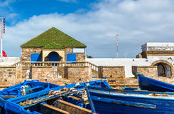 Blue fishing boats in the port of Essaouira, Morocco Stock Photos