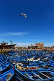 Blue fishing boats in the port of Essaouira - Morocco stock images