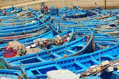 Blue fishing boats in the port of Essaouira, Morocco Royalty Free Stock Photos
