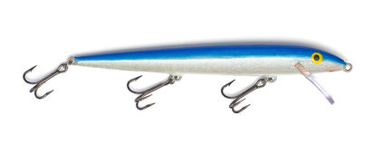 Blue fishing lure Stock Images