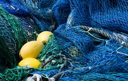 Blue fishing nets Stock Images