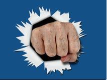 Blue fist punch through splash effect Stock Photos