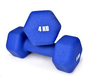 Blue fitness dumbbells Stock Image