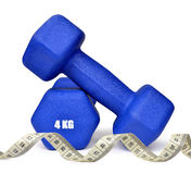 Blue fitness dumbbells Stock Photography
