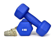 Blue fitness dumbbells Royalty Free Stock Photography