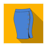 Blue-fitting skirt with slit and buttons. Part strict working style of clothing.Women clothing single icon in flat style Royalty Free Stock Image