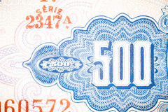 Blue five hundred Bill Stock Photos