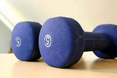 Blue Five Pound Weights Stock Photo