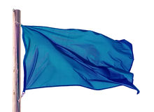 Blue flag against white Stock Photo