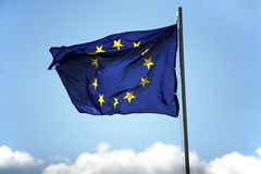 Blue flag of European Union Stock Images
