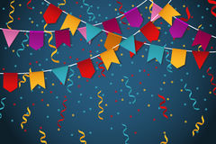 Blue flag garland party celebration background for feast banner vector illustration. Colored banner with flag and garland Stock Images