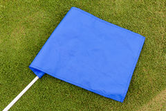 Blue flag placed on green grass background. Stock Photo