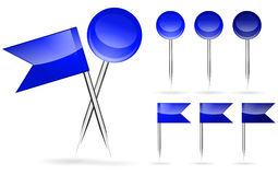 Blue flag and round pins Royalty Free Stock Images
