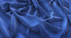 Blue Flag Ruffled Beautifully Waving Macro Close-Up Shot 3D Rend. Ering Studio Royalty Free Stock Photography