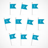 Blue flags with numbers. Ten blue flags on the pins, ten vector labels Royalty Free Stock Photo