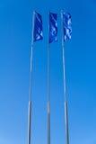 Blue flags on sky Royalty Free Stock Photos