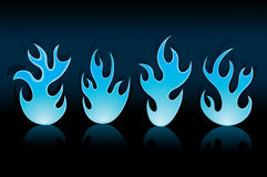 Blue flame. Vector blue flame on black background Royalty Free Stock Photo