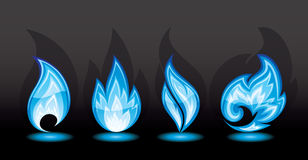 Blue flame. Set of a fire icons, illustration Stock Photo