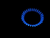 Blue flame. The blue flame of the gas-cooker stock image