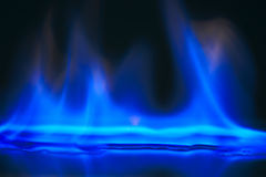 Blue flame. Alcohol burning blue flame nice Royalty Free Stock Photography