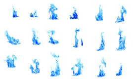 Blue flame compilation Royalty Free Stock Photo