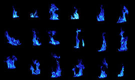 Blue flame compilation Royalty Free Stock Photos