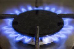 Blue flame of a domestic stove. stock image