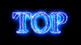 Blue flame energy Top word overlay 4k 3D animation stock video