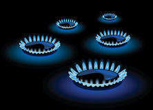 Blue flame of gas. Vector illustration Stock Image