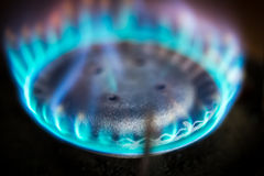 Blue flame gas. Royalty Free Stock Photography