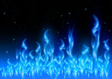 Blue flame. Illustration of blue flame tips and sparks on black background Stock Photo