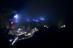 Blue Flame, at Kawah Ijen Crater, Indonesia Stock Photography