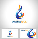 Blue Flame Logo. Concept Design. Creative Flame Icon and business card template Royalty Free Stock Photography