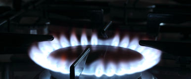 Blue flame of a natural gas Stock Image