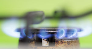 Blue flame of natural gas fire as the background Royalty Free Stock Image