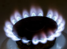 Blue flame of natural gas fire as the background Stock Photo