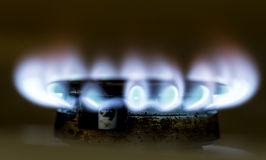 Blue flame of natural gas fire as the background Royalty Free Stock Photography