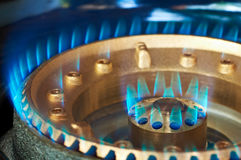 Blue flame of a propan-butan burner Royalty Free Stock Photography