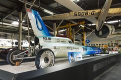 The Blue Flame rocket-powered vehicle on display in museum. Sinsheim, Germany - July 1, 2017: The Blue Flame on exhibit in Sinsheim Auto & Technik Museum stock images
