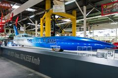 The Blue Flame rocket-powered vehicle on exhibit in Sinsheim. Sinsheim, Germany - July 1, 2017: The Blue Flame on exhibit in Sinsheim Auto & Technik Museum stock photography