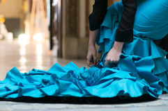 Blue flamenco dress Royalty Free Stock Photo