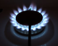 Blue flames. Of gas stove in the dark Royalty Free Stock Photos