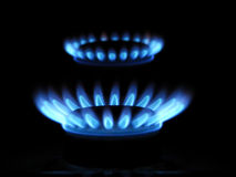 Blue flames of gas Royalty Free Stock Image