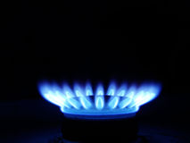 Blue flames of gas Royalty Free Stock Photos