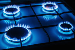 Blue flames of gas burning from Royalty Free Stock Image