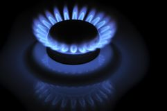 Blue Flames of Gas in the Dark Stock Image