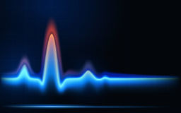 Blue flames of gas in the form of heartbeat line. Royalty Free Stock Images