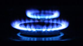 Blue flames. Gas stock video footage