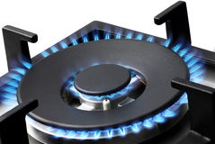 Blue Flames of a Gas Stove Royalty Free Stock Photos